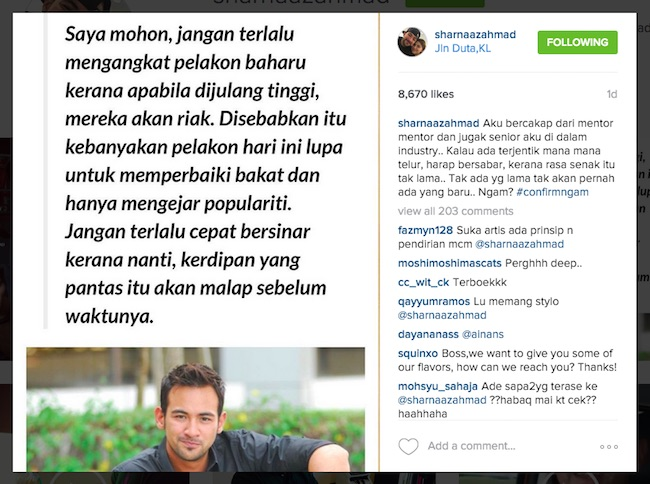 Sharnaaz Ahmad Tegur Pelakon Baru Mudah Berlagak Sombong - ROTIKAYA_in